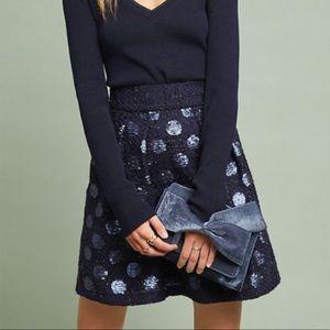 Anthropologie Polka Dot Sequined Mini Skirt